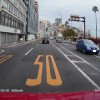 最高速度50km/hの道路標示と走行速度